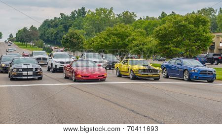 Mustang, Corvette, Ford Boss 302, And Charger, Woodward Dream Cruise