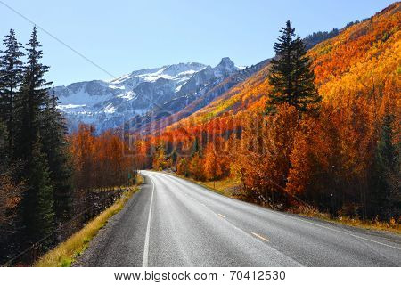 Scenic Million dollar high way in San Juan mountains