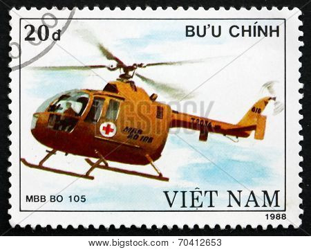 Postage Stamp Vietnam 1989 Mbb Bo 105, Helicopter