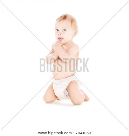 Sitting Baby Boy In Diaper