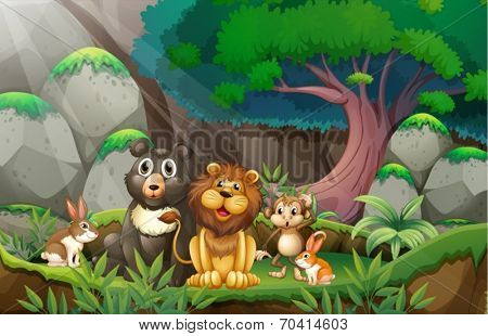Illustration of many animals in the jungle
