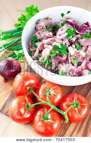 Fresh Raw Marinating Meat For Barbecue Or Kebab. Russian Shashlik.