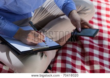 Working Woman On A Blanket