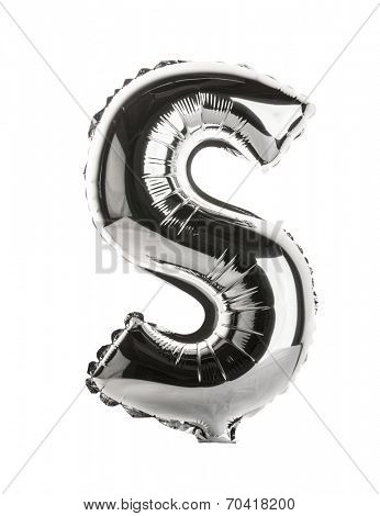 Chrome silver balloon font part of full set upper case letters,S