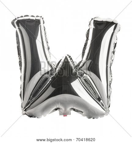 Chrome silver balloon font part of full set upper case letters,W