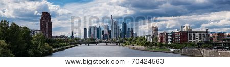 Panorama Of Frankfurt Under A Prtly Cloudy Sky