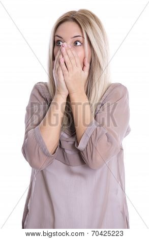 Shocked And Desperate Isolated Young Woman With Blond Hair Over White.