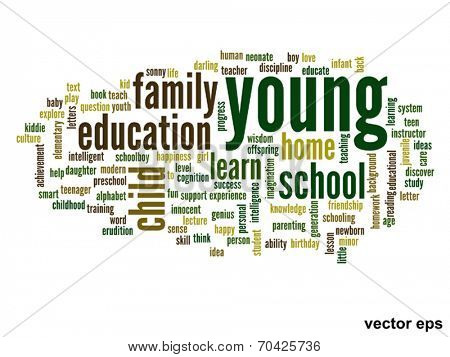 Vector eps concept or conceptual young and education abstract word cloud on white background