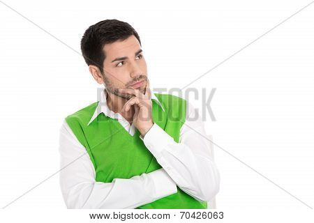 Portrait: Isolated Young Business Man In Green Looking Doubtful At The Side.