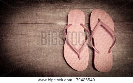 Vintage Pink Colored Flip-flops