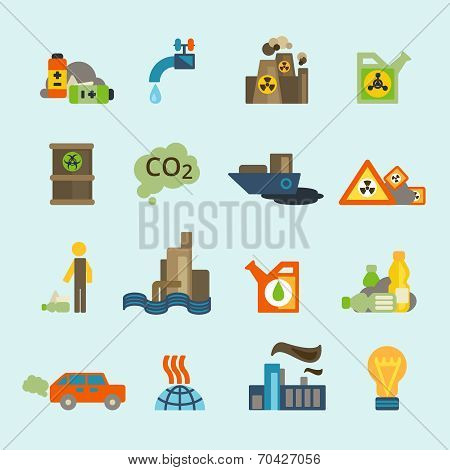 Pollution icon set