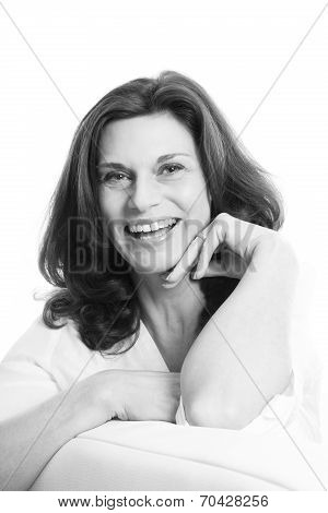 Pretty Mature Woman Face Isolated Over White Background.