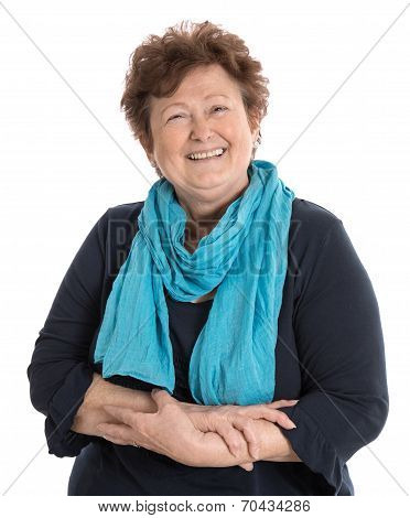 Portrait: Isolated Happy Pensioner Woman Wearing Blue And Turquoise Clothes.
