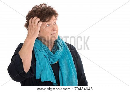 Isolated Stunned Senior Woman Looking Pensive And Sorrowful Sideways.