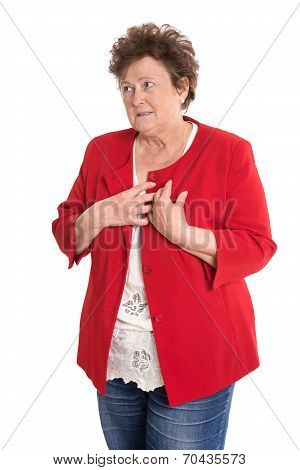 Portrait: Isolated Older Woman In Red Has Heart Problems.