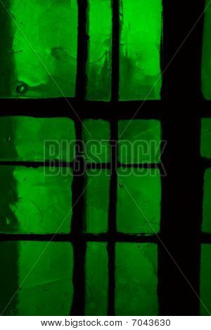 Green Stained Glass Window