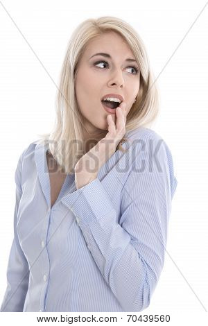 Shocked Isolated Young Business Woman Looking Surprised Sideways.