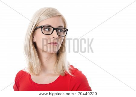 Isolated Young Businesswoman With Glasses And Red Shirt.