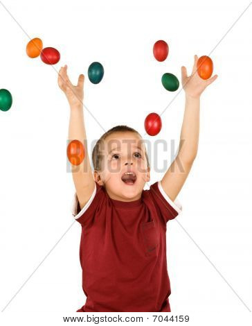 Little Boy With Falling Easter Eggs - Isolated
