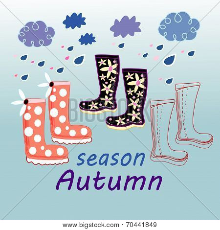 Autumn Background With Rubber Boots