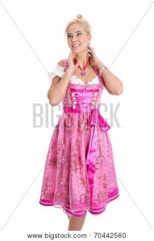 Beautiful Isolated Bavarian Woman Wearing Pink Traditional Dress.