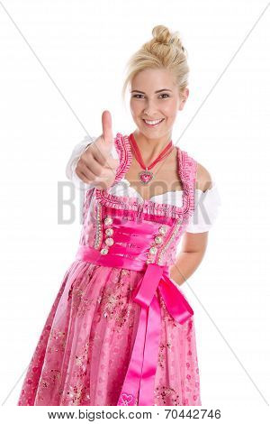 Happy Young Blond Woman In Dirndl Dress In Bavarian Folkart.