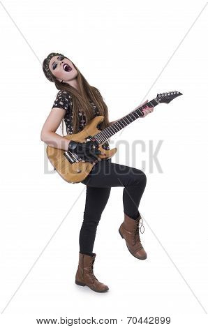 Beautiful young rocker girl dressed in black