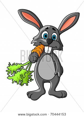 Funny Cartoon Grey Rabbit Eating A Fresh Carrot
