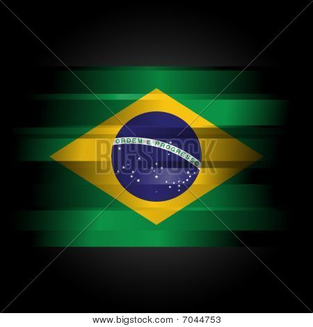 Abstract Brazillian Flag On Black Background