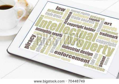 intellectual property word cloud on a digital tablet with a cup of coffee