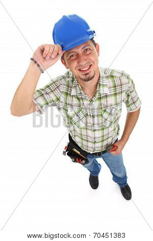 Carpenter Wearing Toolbelt Hardhat
