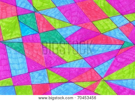 Artistic Geometric Background Painted Markers.  Handmade Triangle  Texture. Background For Design Ca