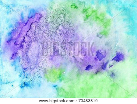Artwork Colorful Backdrop.  Handwork  Textured Background  In Green, Blue, Lilac  Colors. Gorgeous