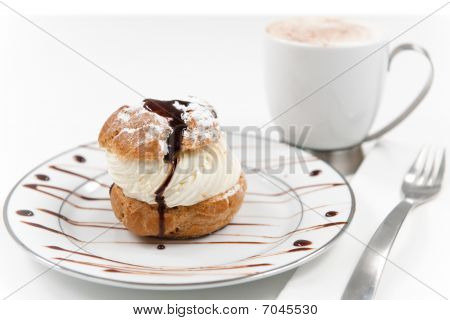 Cream Puff Pastry isolated on white
