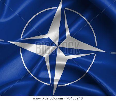 Satin Flag With Emblem
