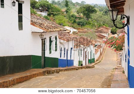 Colombia, Street Of The Barichara Village