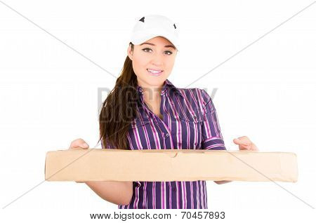 Young happy delivery woman holding package