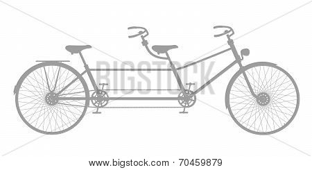 Retro tandem bicycle in grey design