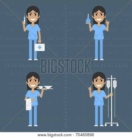 Nurse holds medical supplies in various poses