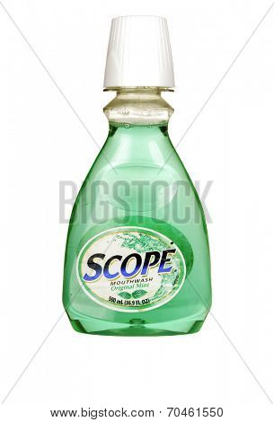 Hayward, CA - July 31, 2014: 500ml bottle of SCOPE brand mouthwash in original minty flavor