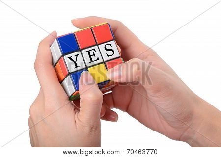Woman Hand Playing Square Puzzle For Concept Solve Solution