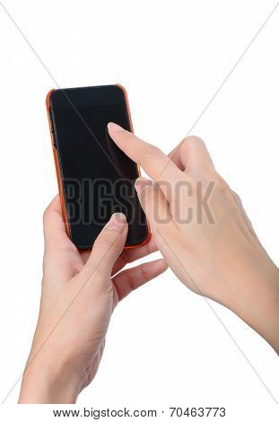 Woman Hands Touching Smartphone Isolated On White Background