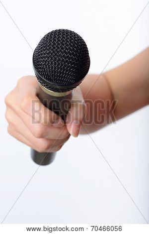 Woman Hand With Microphone