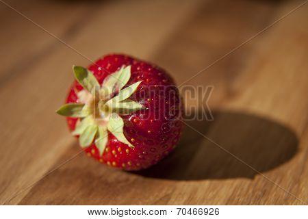 Fresh Strawberrie On Wooden Table