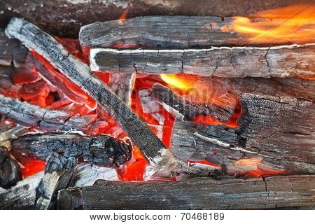 Flame Over Burning Wood-burning Coals