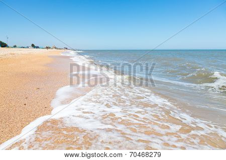 Beach Of Sea Of Azov In Resort Village Golubickaya