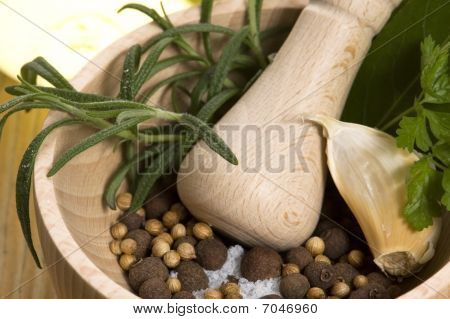 Mortar And Pestle, With Fresh-picked Herbs