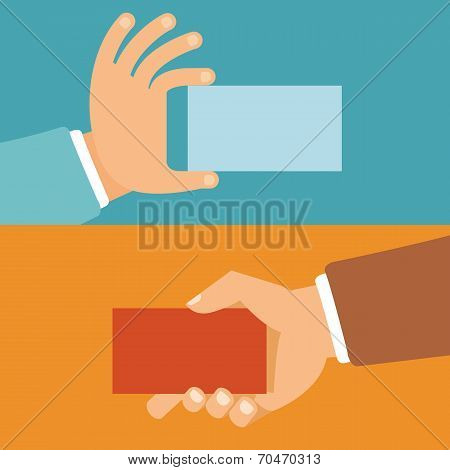 Vector Businessman Hands Holding Id Cards