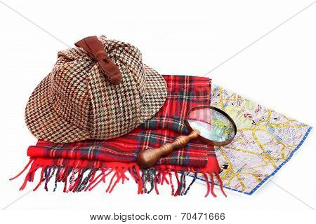 Deerhunter Cap, Magnifying Glass, Tartan Scarves And London Map
