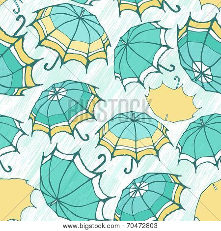 Seamless pattern with decorative umbrellas